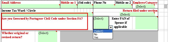 Portuguese civil code in income tax return form or ITR forms