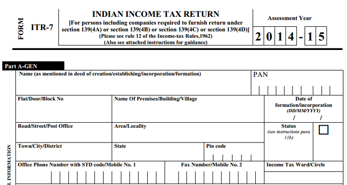 charitable trust income tax return form itr7