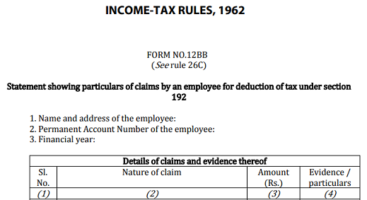 Form 12BB declaration for tax deduction